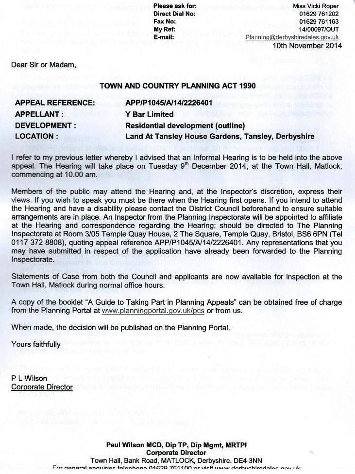 Letter Template Planning Permission. Please see the letter here  received Tansley Parish Council